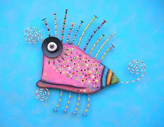Little Pink Critter, Original Found Object Wall Sculpture, Wood Carving, Animal Sculpture, Abstract Sculpture, Wall Decor, by Fig Jam Studio