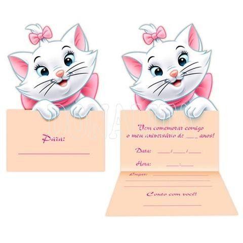 Convite Gata Marie Cumpleaños Baby Shower Invitaciones