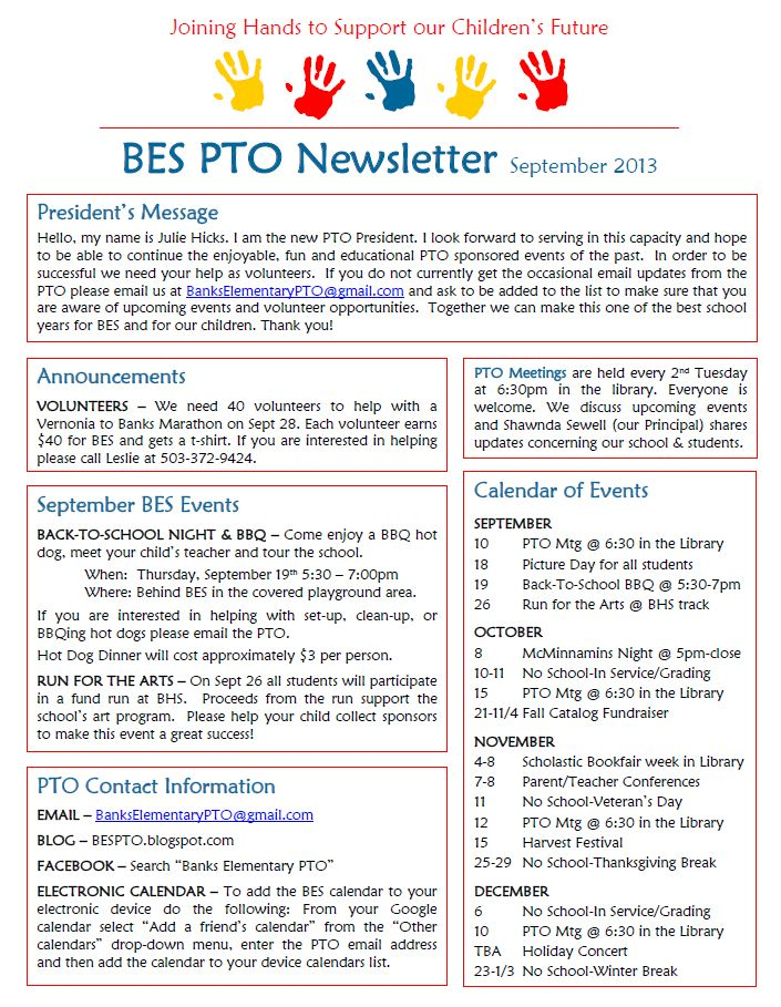 Banks Elementary PTO September Newsletter School Stuff - club bylaws template