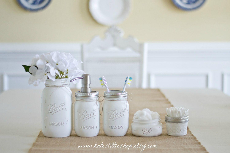 Mason Jar Bathroom Set White Ball Jars Rustic Home Decor Painted Farmhouse Soap Dispenser