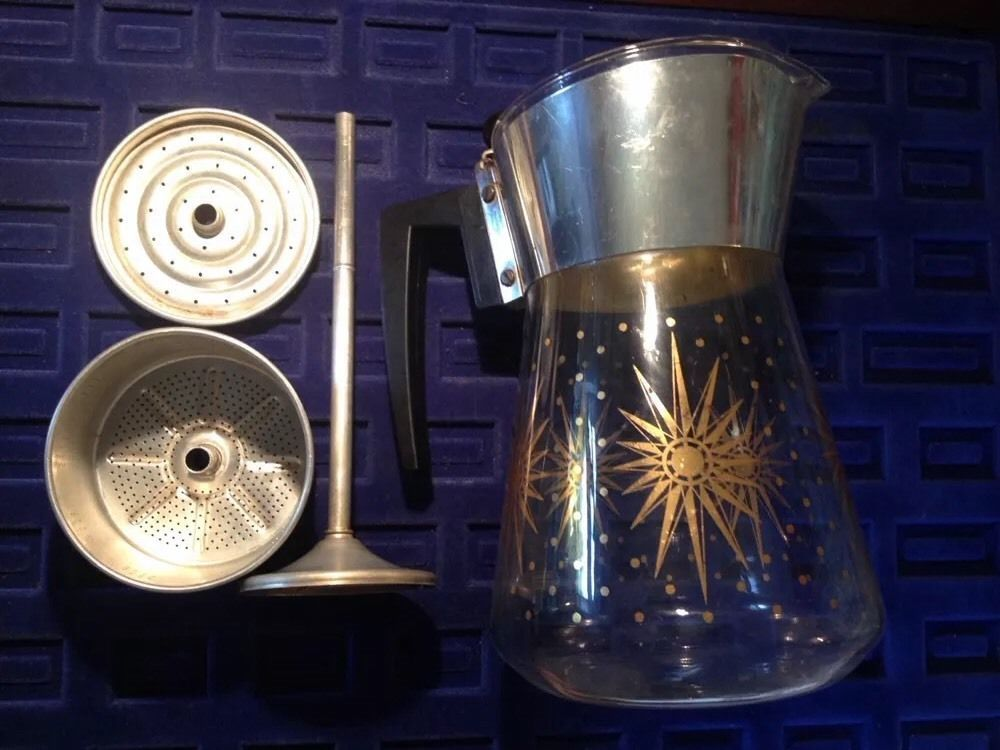 Details about VTG Atomic Kitchen Douglas Flameproof Starburst Perculator Coffee Pot Glass #coffeepots