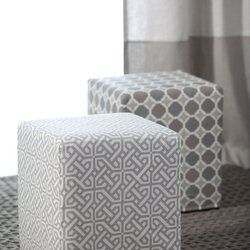 HERE IS YOUR FABRIC IN AN OTTOMAN WITH STRIPE SIMILAR BUT HORIZONTALLY ON DRAPE BEHIND....!