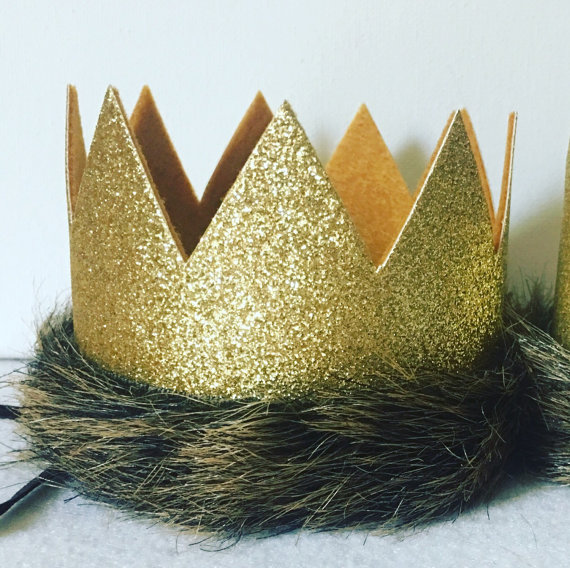 Where the Wild Things Are Glitter Gold and Mustard Medium Crown Headband, Max Crown, King Jungle Crown Hat, Lion Crown, First Birthday, G #crownheadband
