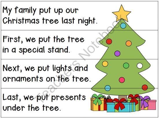 Freebie Sequencing Sentences For Decorating A Christmas Tree Sentences Classroom Material Freebie