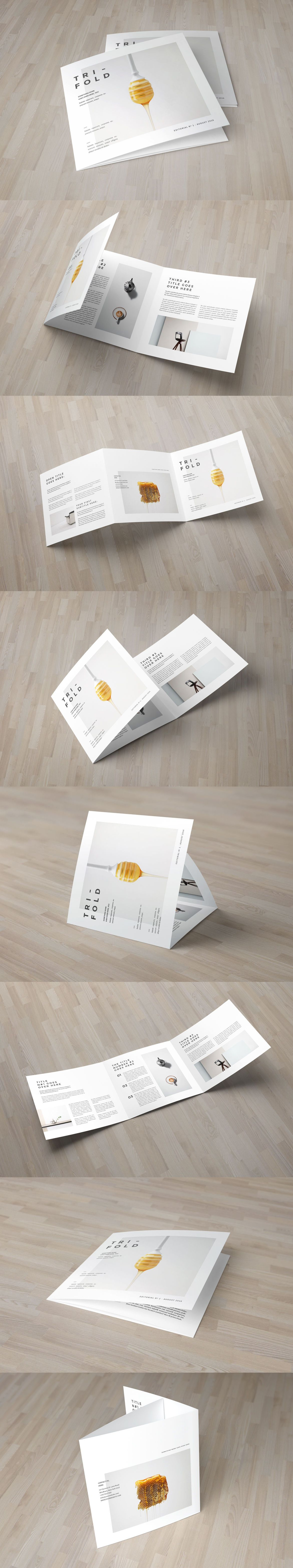 Square Minimal Cool White Trifold Brochure Template InDesign INDD ...