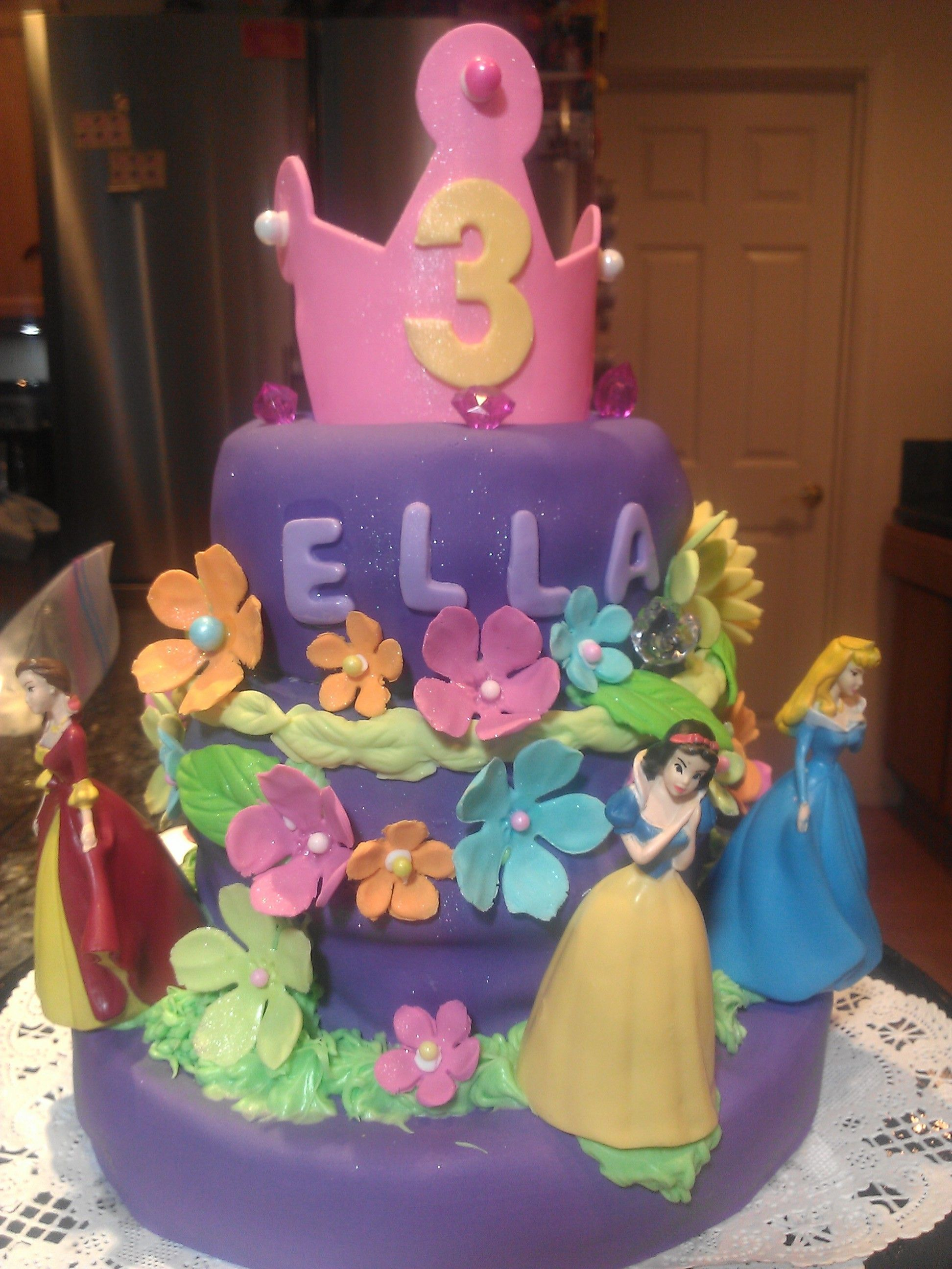princess birthday cake for 3 year old special girl Bella