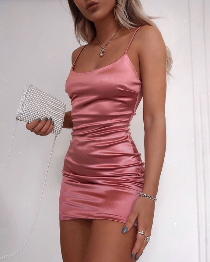 SSR0158,simple short pink sleeveless satin midi dress women dress satin spaghetti-straps mini homecoming dress