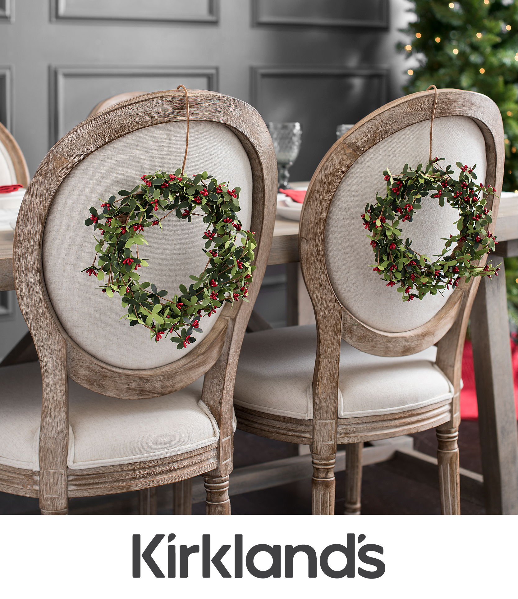 Decorate Your Dinning With These Lovely Christmas Chair: Add A Small Wreath To The Backs Of Your Dining Chairs For