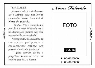 Santinhos De Falecimento Bfgraf Mensagens Modelo De Santinho