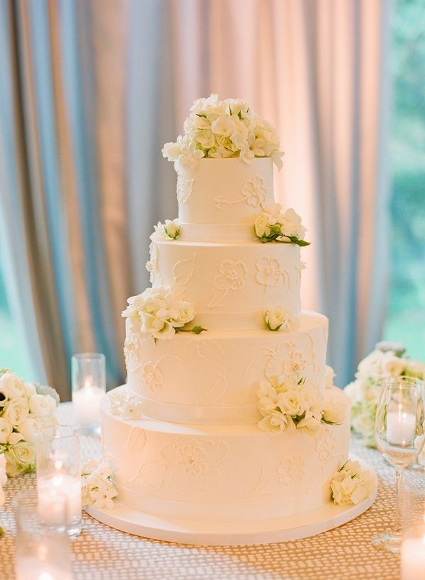 Four Tier Round Wedding Cake With Roses | Cake table, Champagne ...
