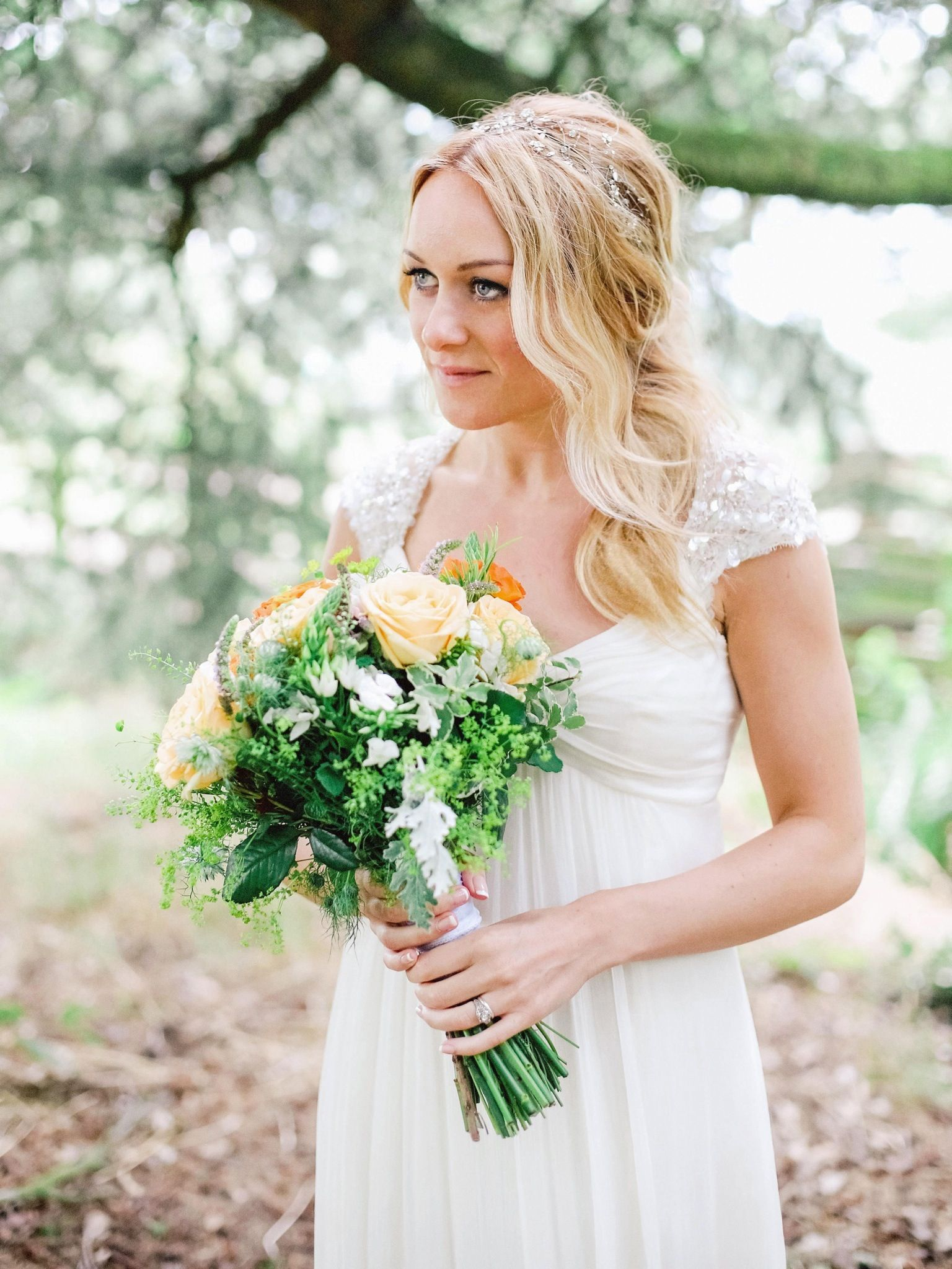 Jenny Packham bride. Messy ethereal wedding hair, outdoor woodland ...