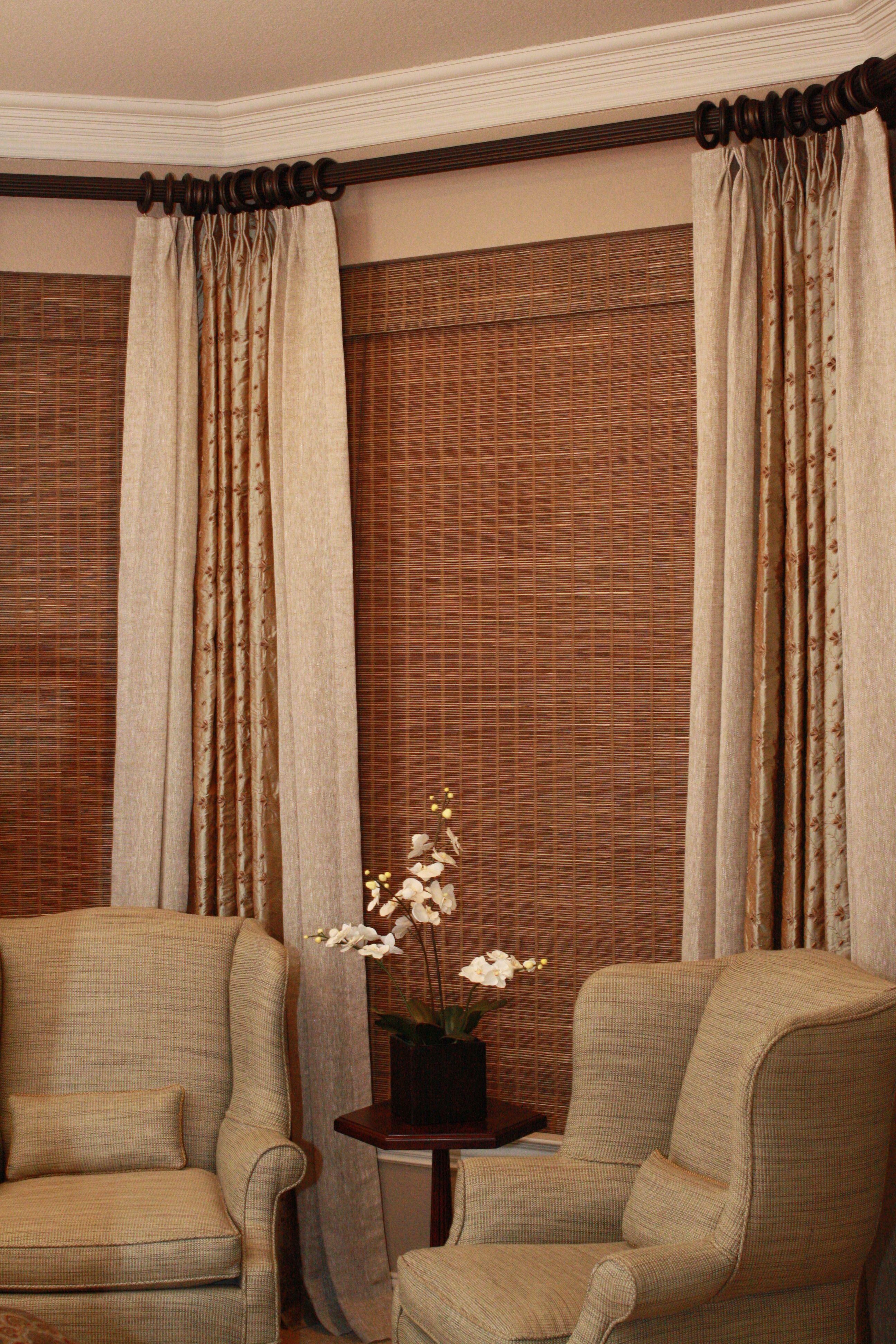 window idea espresso rod at top pinch pleat drapes clip rings bamboo