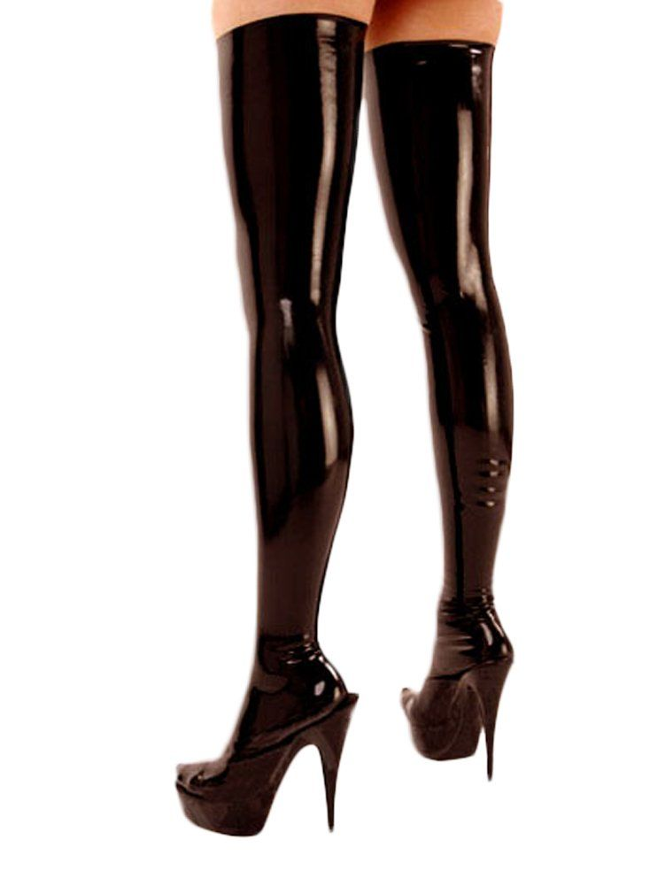 ed477414c21 JustinLatex Women s Sexy Latex Rubber Thigh High Long Stockings