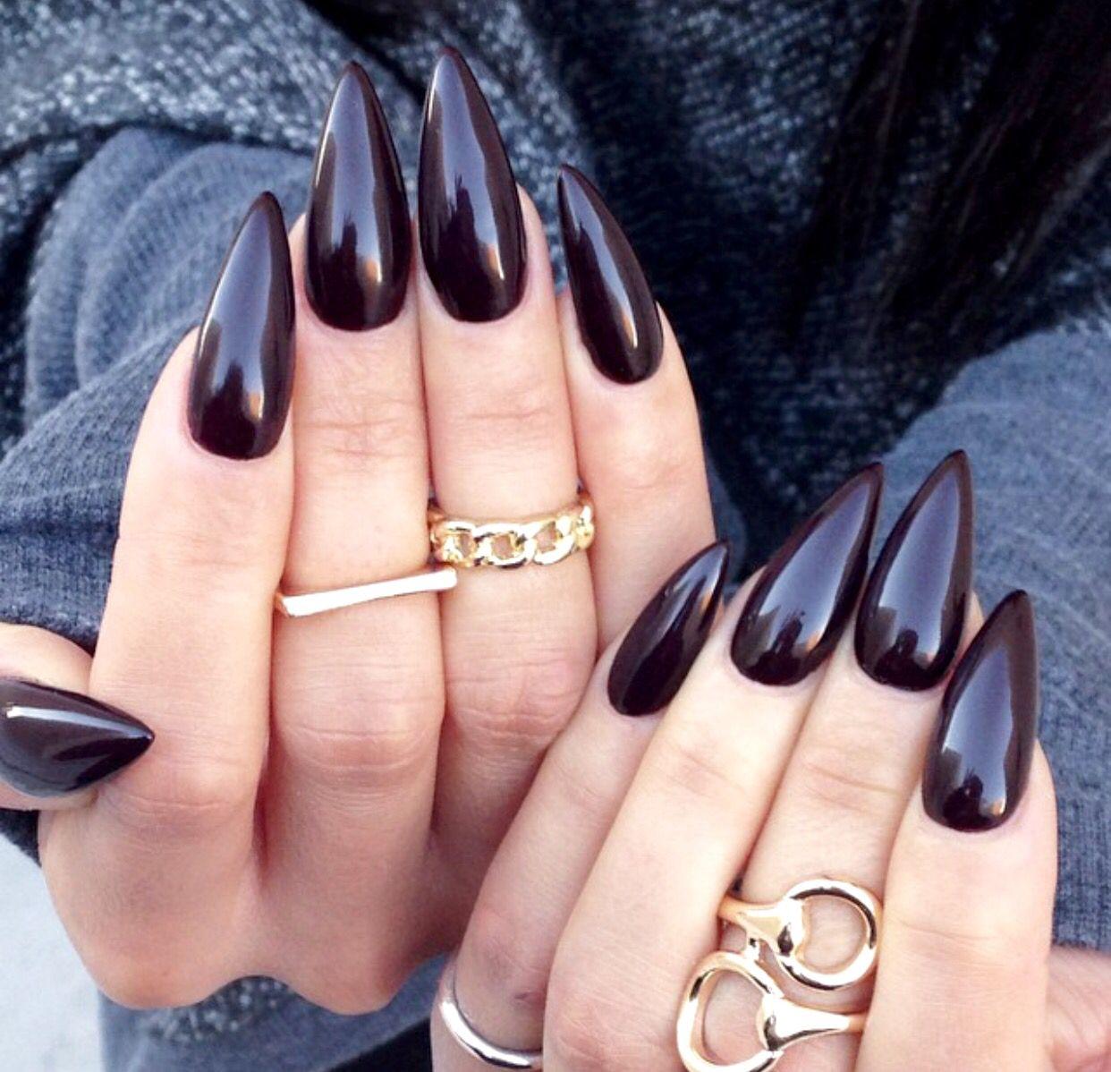 Dark Red Stiletto nails | 1. Double Team + Dynamicpunch Amazing ...