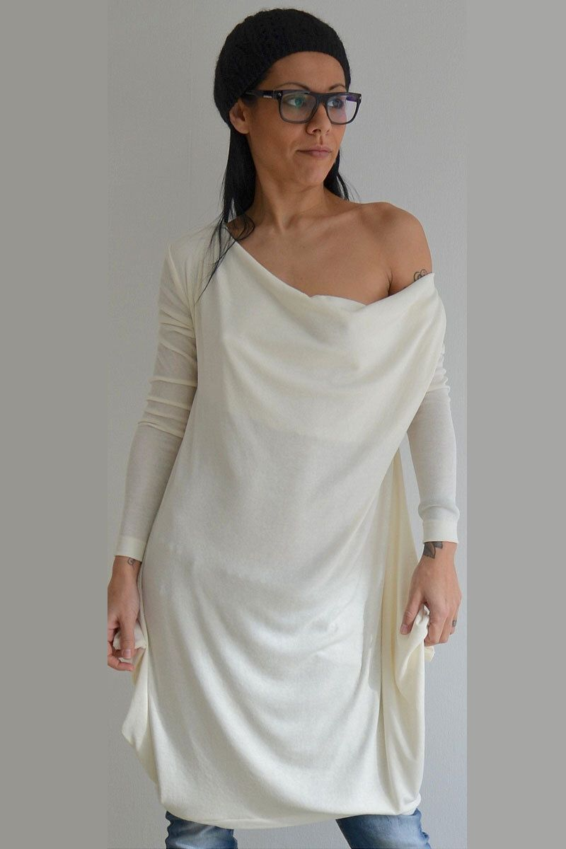 Oversize Tunic, Long Sleeves Tunic, Maxi tunic, White Cotton tunic ...