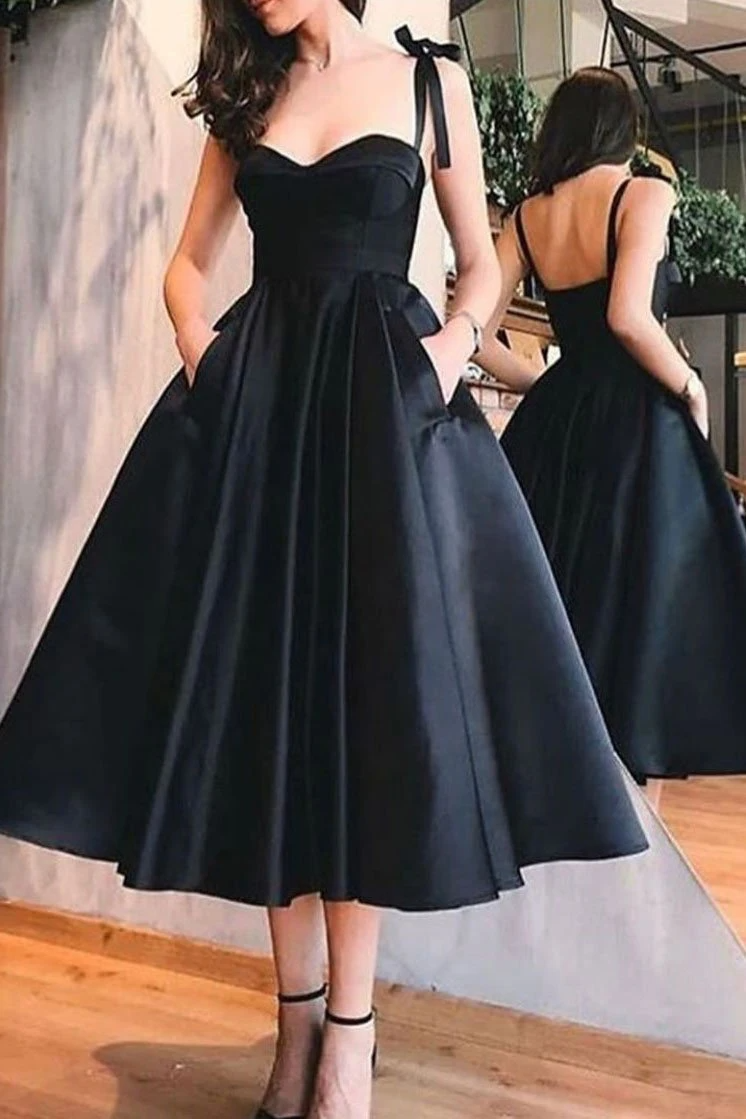 Vintage Inspired Tea Length Black 50s Prom Dress With Pockets 50s Style Bridesmaid Dress 081619 Prom Dresses With Pockets Black Homecoming Dress Black Evening Dresses [ 1119 x 746 Pixel ]