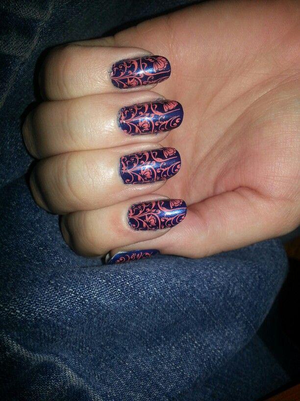 navy with orange nail stamp | Nails | Pinterest | Orange nail, Nail ...