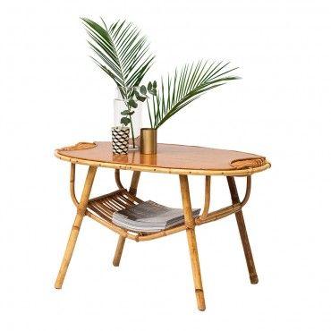 Table En Rotin Vintage Annees 50 Palmier Idee Deco Rangement Deco Rangement Rotin