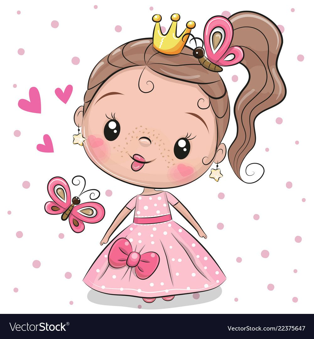 Cute Fairy Tale Princess On A White Background Download A Free Preview Or High Quality Adobe Illustrator Ai Eps Cute Cartoon Girl Cute Drawings Cute Princess