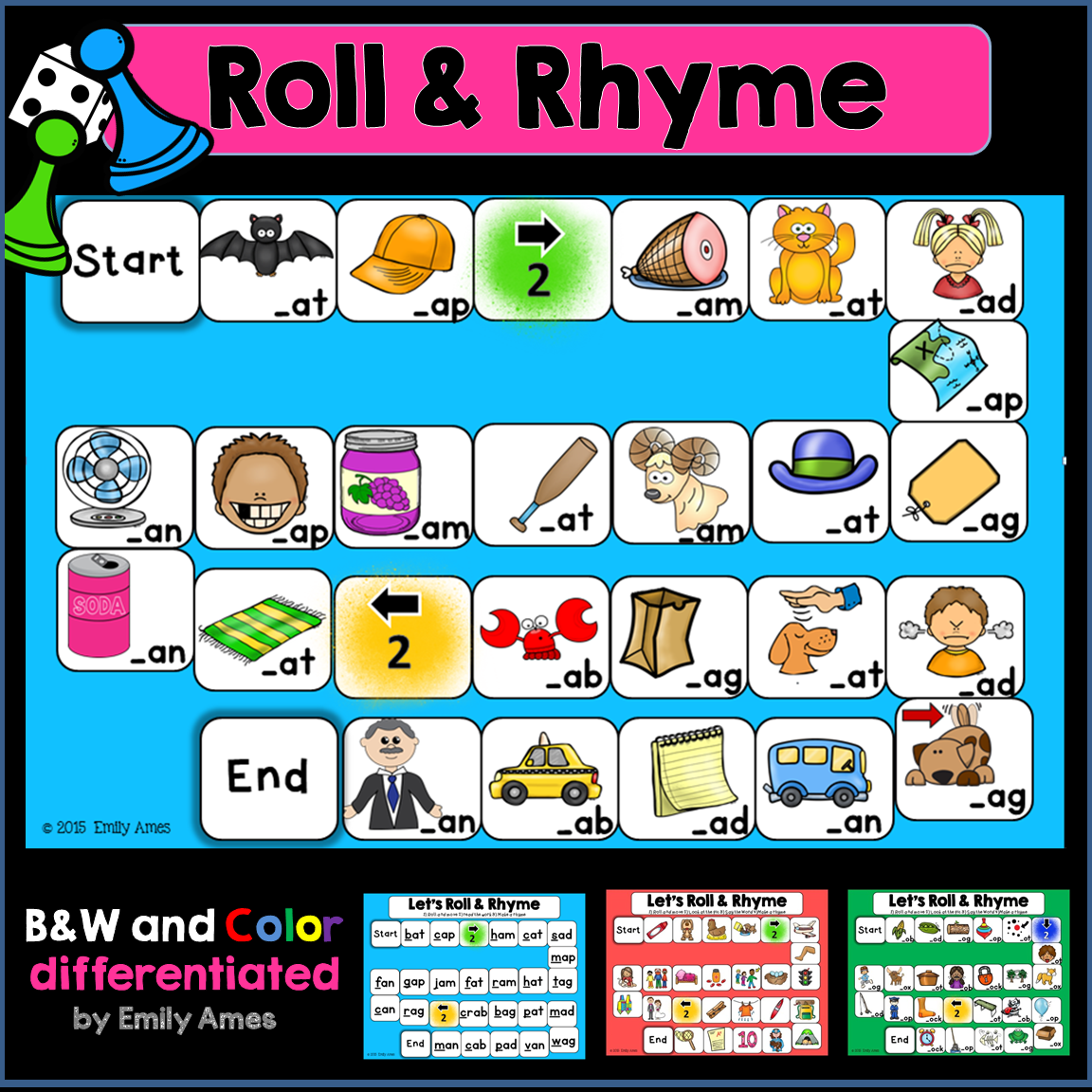 Rhyming Roll And Rhyme Board Games