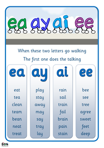 Long Vowel Sounds Ea Ai Ay And Ee Pdf Education Tips