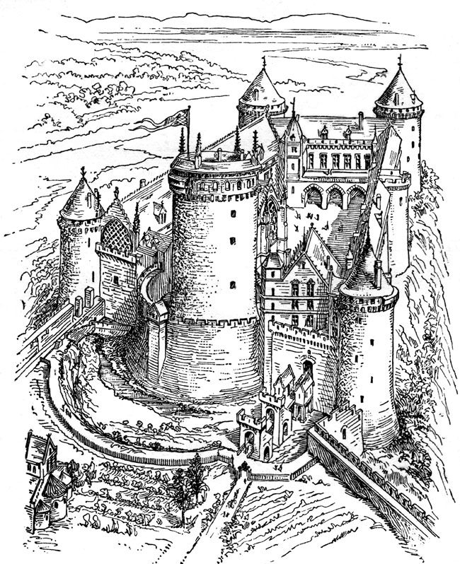 Medieval Castle Clipart Castles In The Sky Coloring Pages Adult