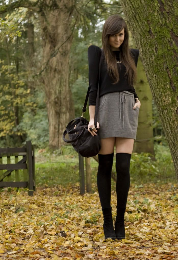 4a59255a64c Love the puffed sleeves + gray mini + black over the knee socks!