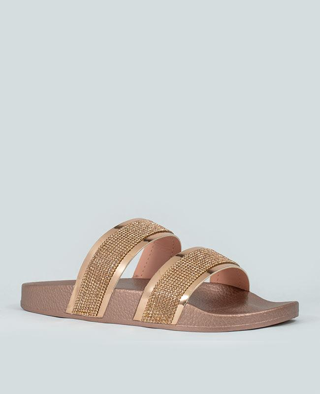 Expensive Taste - Rose Gold Rhinestone Slides #expensivetaste