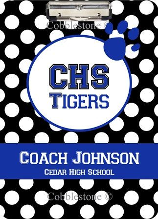 Personalized Clipboard  Show your school spirit by Cobblestone Creations $28.00