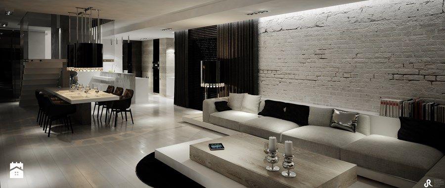 Aranżacje wnętrz - Salon: Dom B - projekt wnetrza - Duży salon z kuchnią z jadalnią, styl glamour - Otwarte Studio Sztuka. Przeglądaj, dodawaj i zapisuj najlepsze zdjęcia, pomysły i inspiracje designerskie. W bazie mamy już prawie milion fotografii!