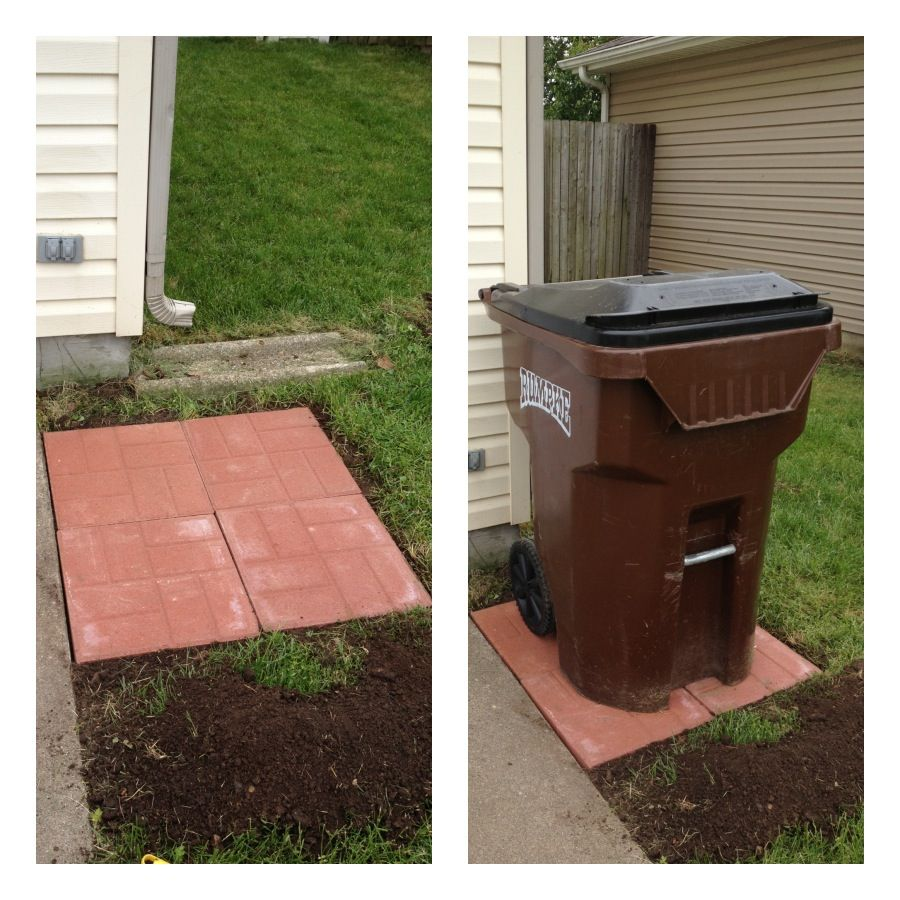 I Put Pavers Under My Trash Can So It Wasn T Sitting In The Mud Outdoor Trash Cans Trash Can Storage Outdoor Outdoor Pavers
