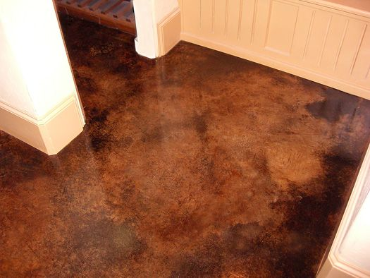 Check Out This Sprayed Brown Acid Stained Concrete Floor