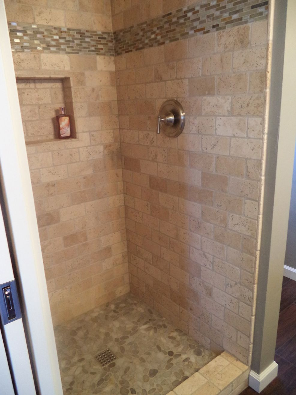 New Tiles Shower To Replace The Old Plastic Insert This Is Subway Travertine Tile On Walls A Walker Zanger Border Of Slate And Gl Quartz Pebble
