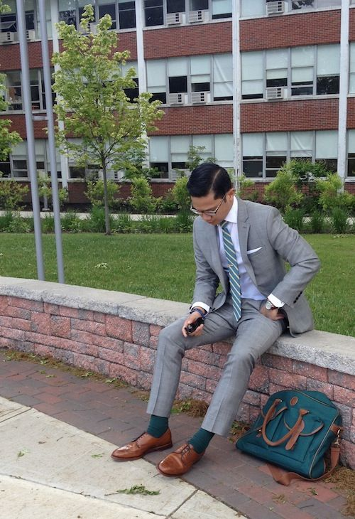 """From ntscollective: """"Adrian, 21, wearing a Gray Glen Plaid Suit to his last final of undergrad. Can you say going out with a bang and with style?!"""""""