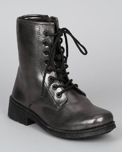 Cool Qupid Missile-04 New Lace Up Round Toe Combat Boot w/ Side Zipper - Pewter Metallic