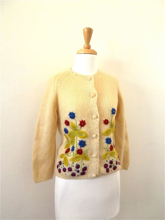 50s Cardigan / Vintage 1950s Sweater Wool by missmittensvintage, $50.00