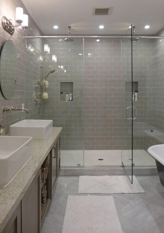 Contemporary Master Bathroom With Rain Shower, Daltile Rittenhouse Square  Matte Desert Gray 3 In.