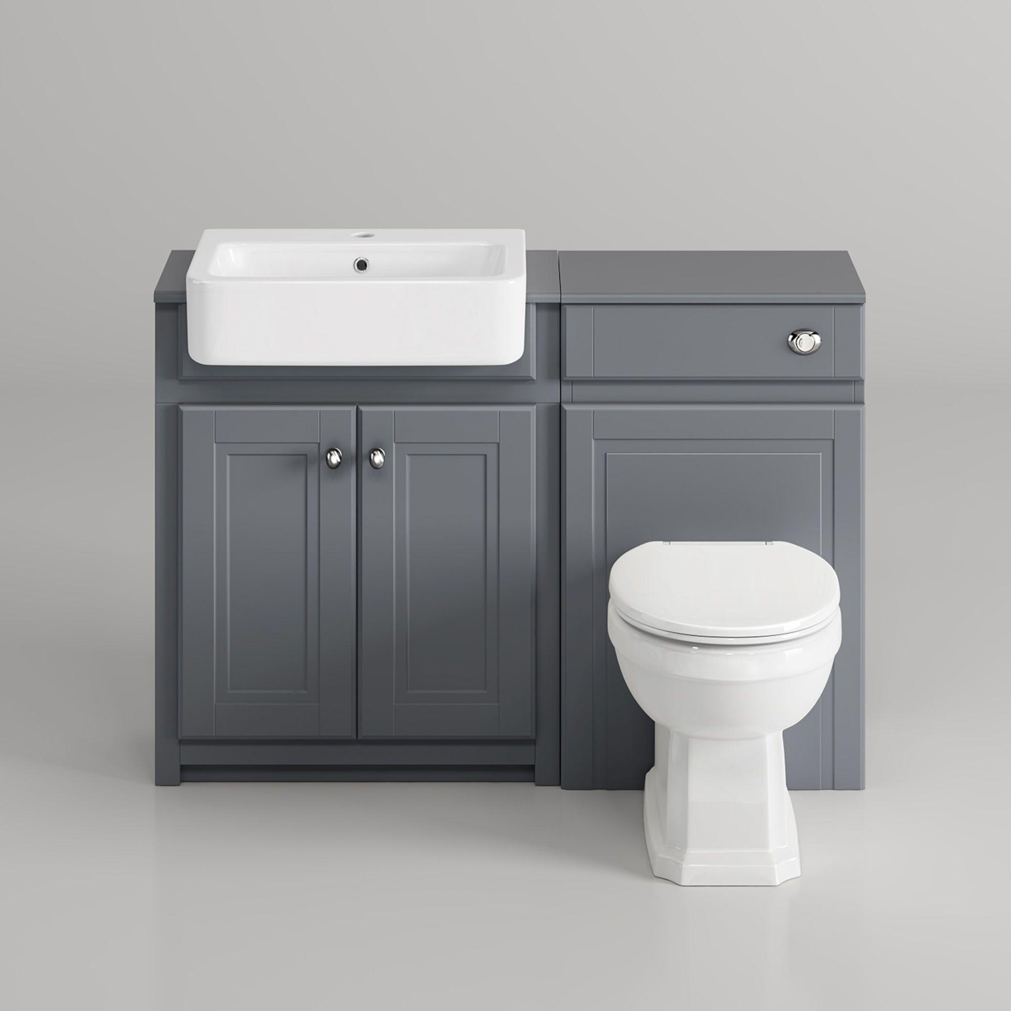 1167mm Cambridge Midnight Grey Combined Vanity Unit Victoria Ii Pan Small Toilet Room Small Bathroom Small Bathroom Makeover