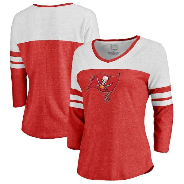 77bceed4 Tampa Bay Buccaneers NFL Pro Line by Fanatics Branded Women's Distressed  Primary Logo Three-Quarter