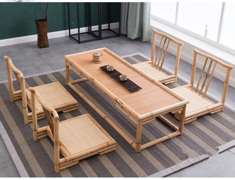 Gentil (5pcs/set) Modern Bamboo Furniture Sets Floor Table Japanese Style Tatami  Coffee/Tea Living Room Furniture Bamboo Table Chairs