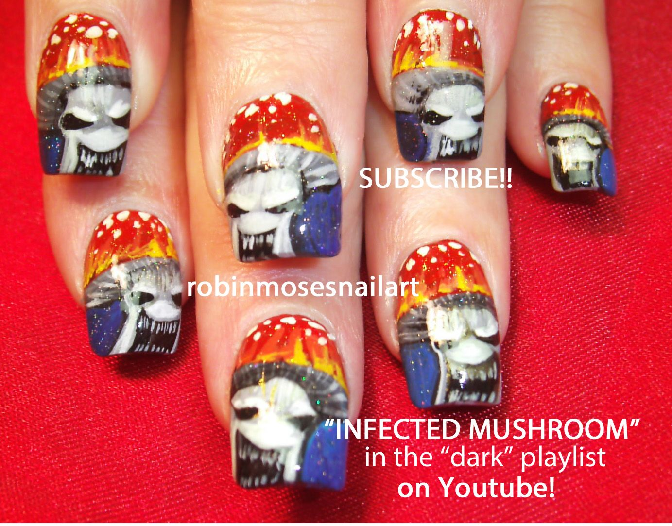 Nail Art By Robin Moses Infected Mushroom Youtubewatchv