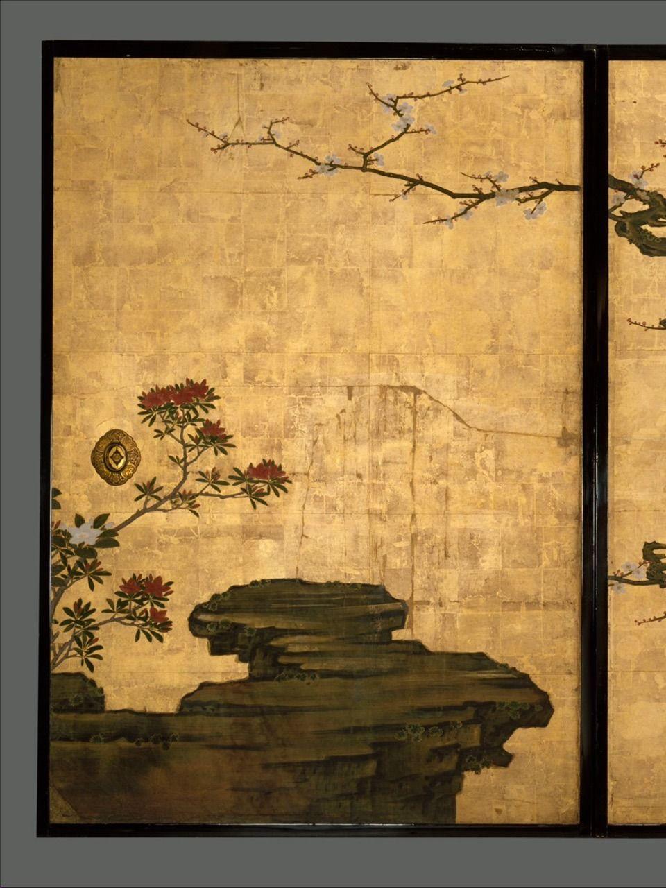"老梅図襖, Old Plum, Kano Sansetsu (Japanese, 1590–1651) "" | kimono ..."