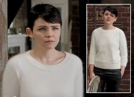 Mary's white fluffy sweater on Once Upon a Time. Outfit details