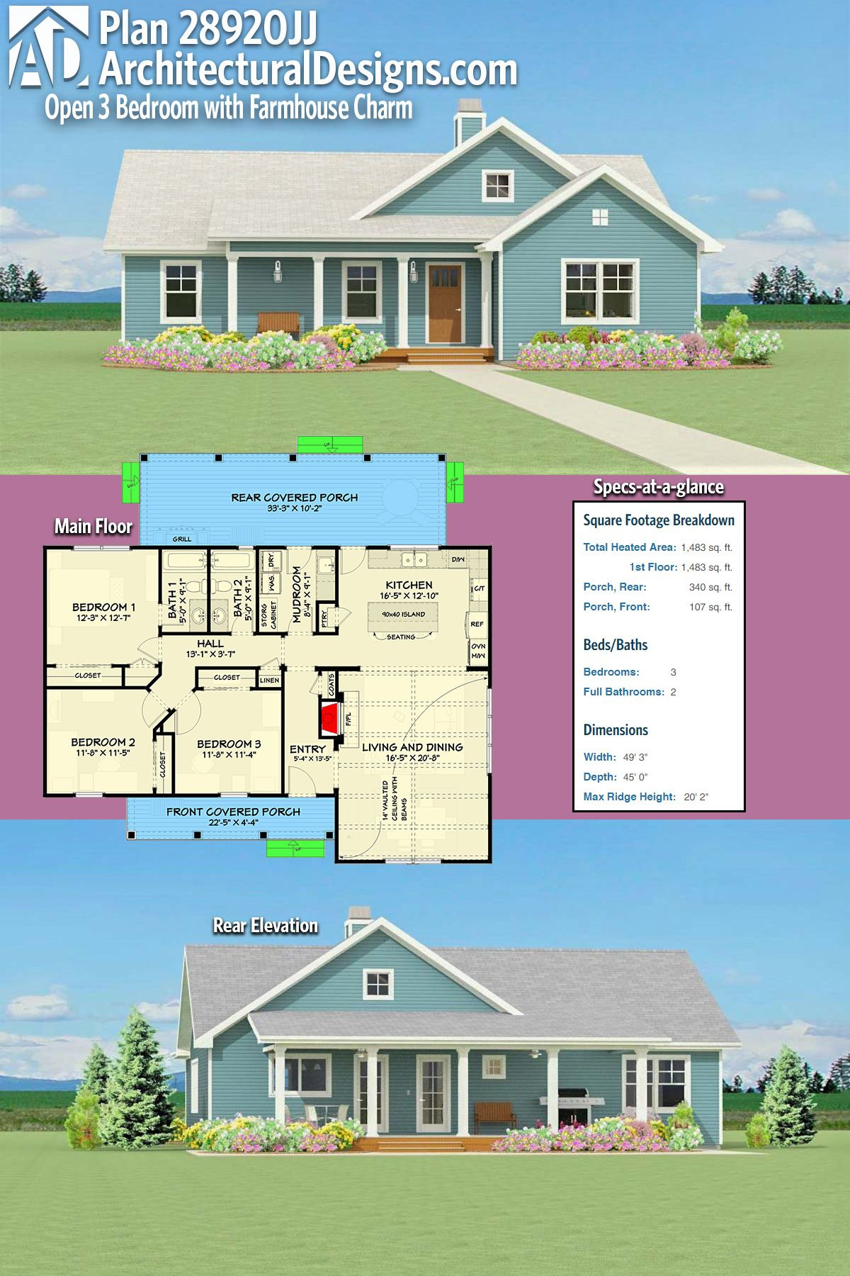 Introducing Architectural Designs Farmhouse House Plan 28920jj Gives You Over 1 400 Square Feet Of Hea Modern House Plans House Plans Farmhouse Farmhouse House