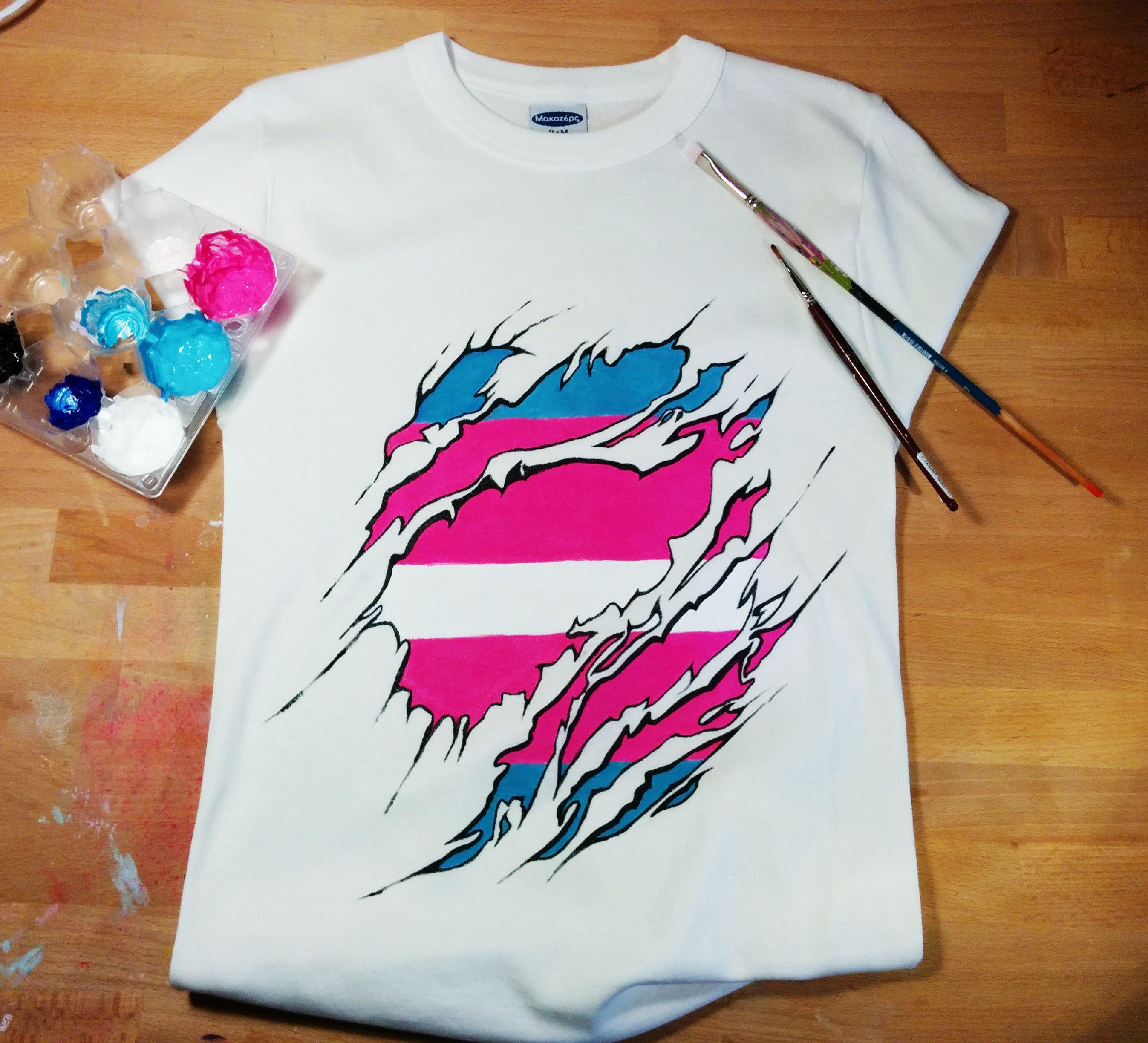Torn Design Transgender Flag Colours Acrylics My Diy T Shirt