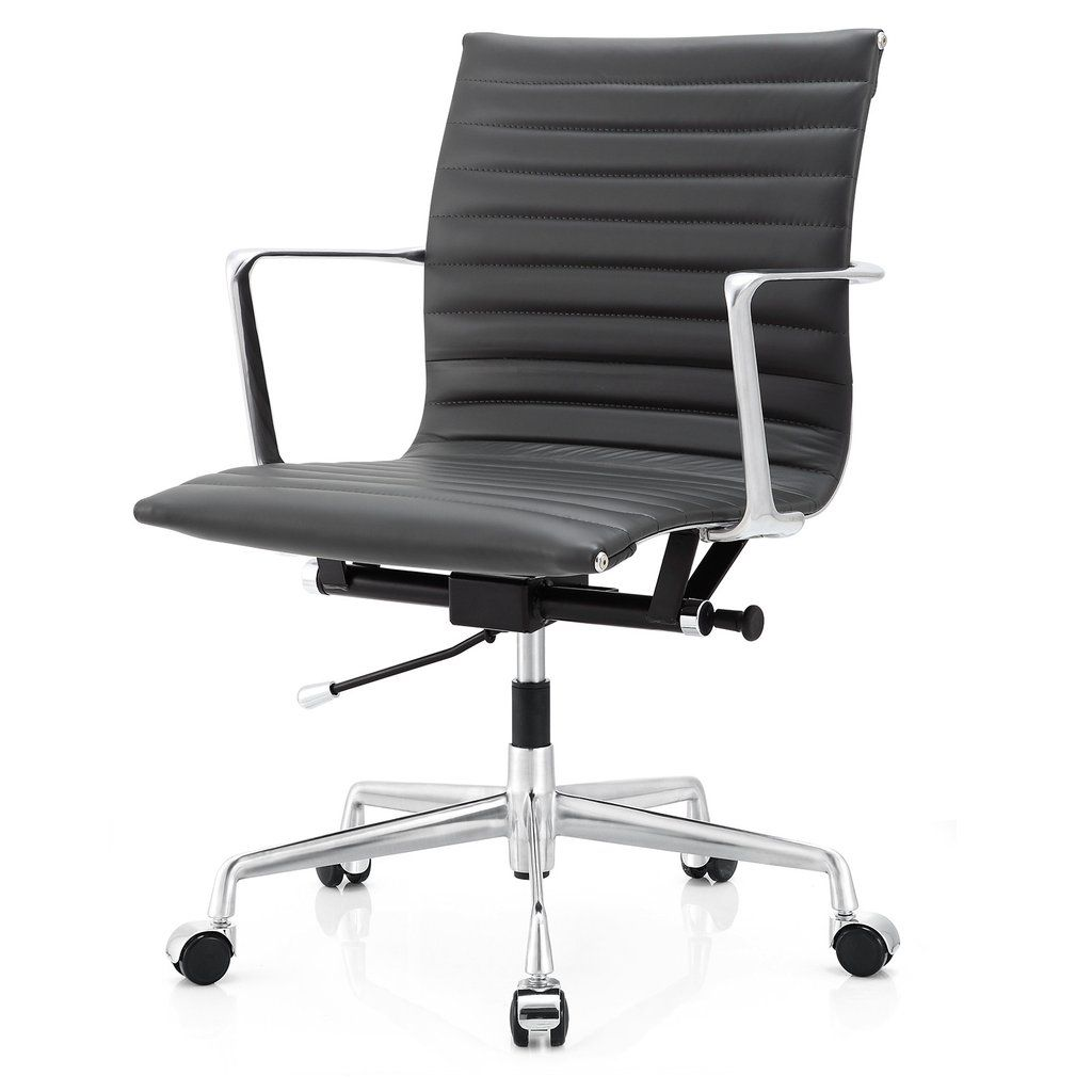 M5 Office Chair In Aniline Leather Polished Aluminum Gray