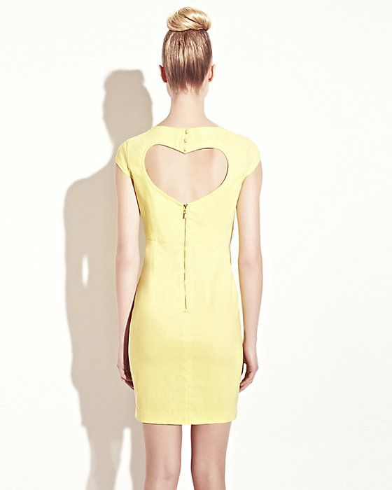 Betsey Johnson: DRESS WITH HEART CUTOUT YELLOW ready to wear dresses no classes fashion
