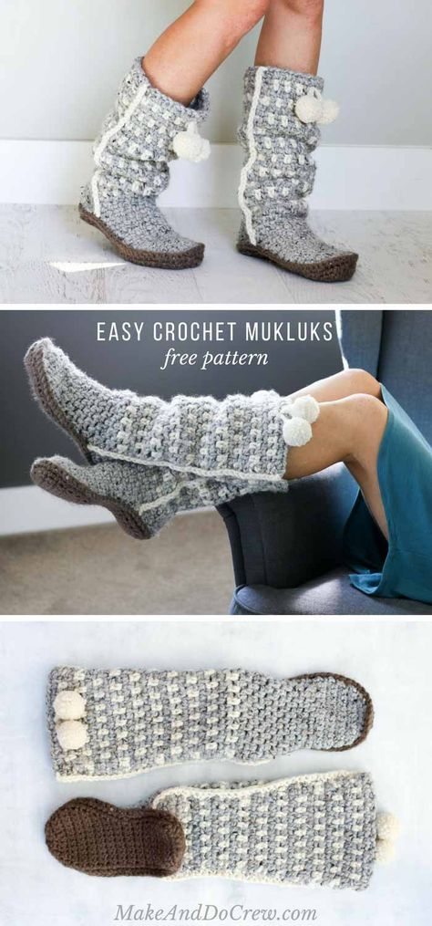 Stylish And Slouchy Crochet Mukluk Slippers Free Pattern Quick