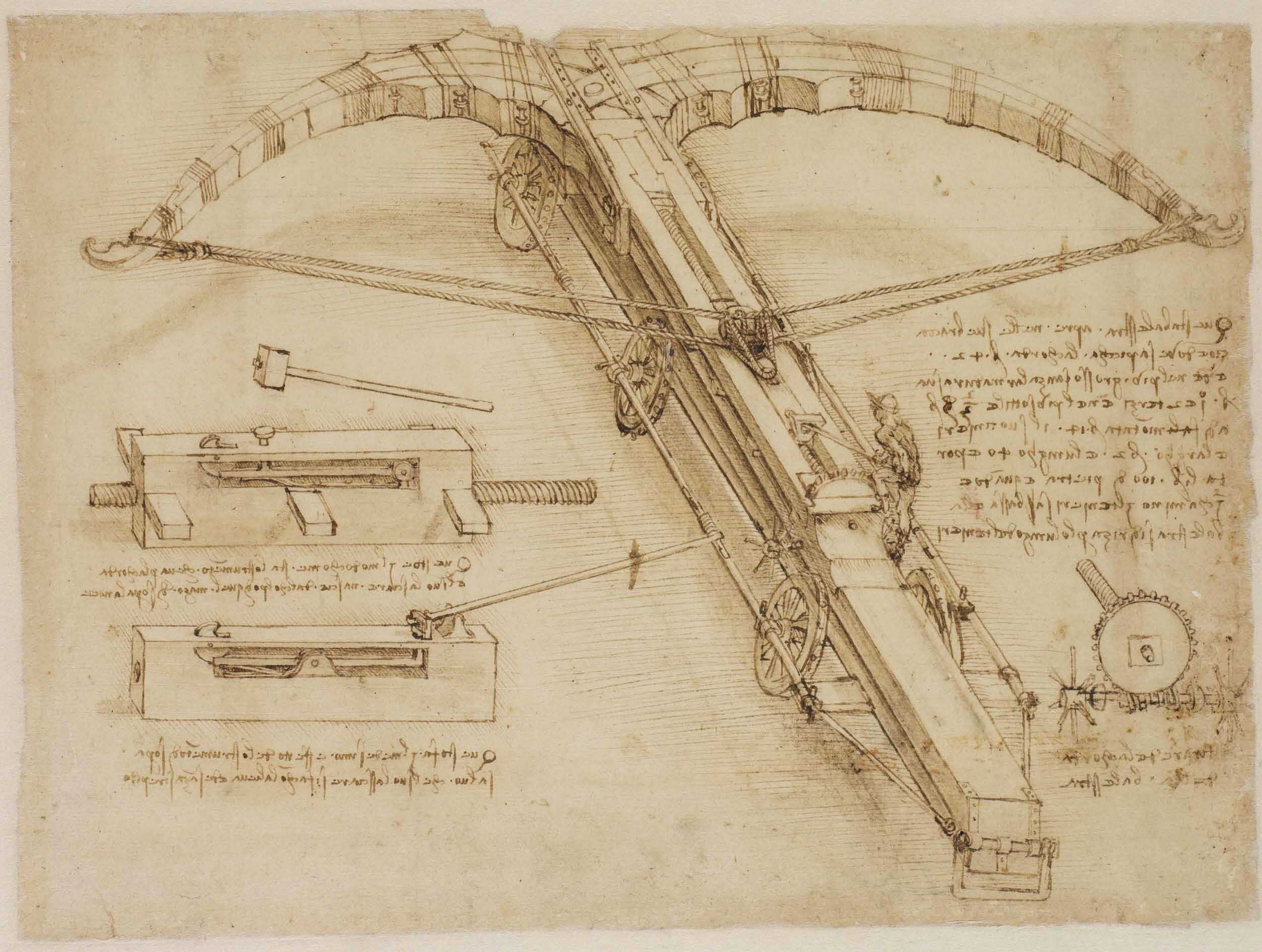 Giant Crossbow Designed By Leonardo Da Vinci In The Atlantic Codex Codice Atlantico Pinacoteca Ambrosiana Milano Resim Tablolar