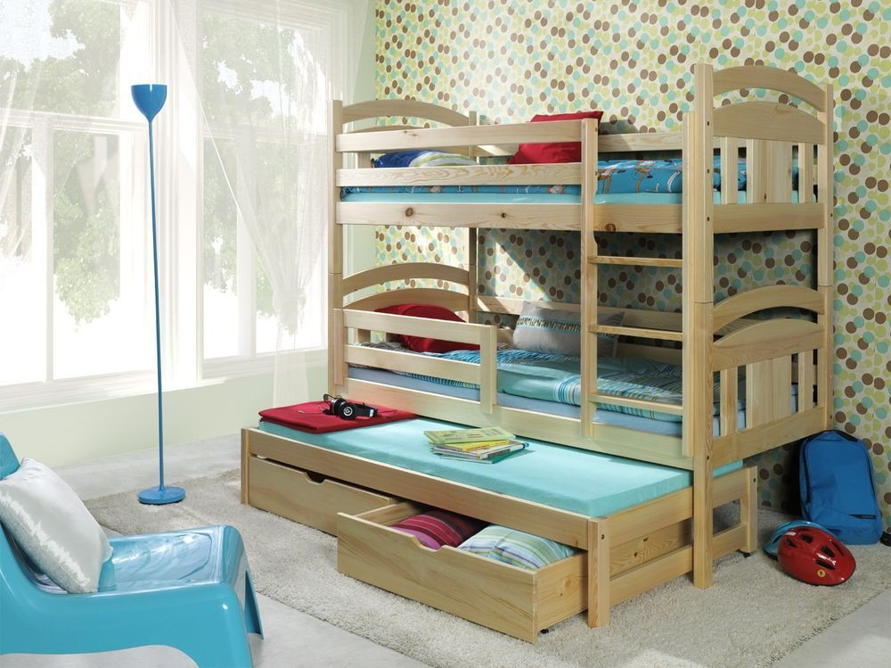 WOODEN TRIPLE BUNK BED, WITH MATTRESSES AND STORAGE